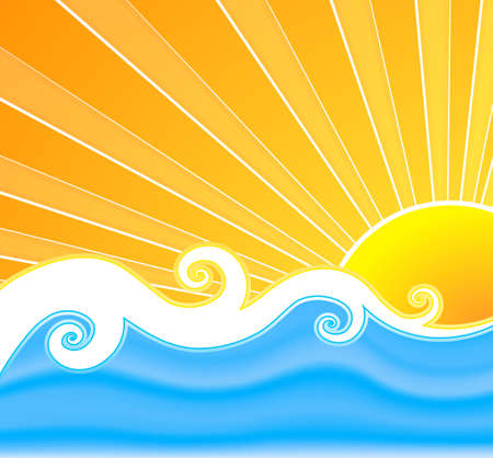Vector illustration of a swirly retro summer background with beautiful sun rays, curly mesh water and wavy design in the middle.