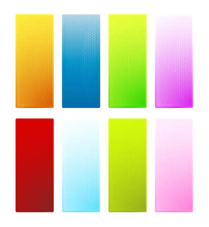 Vector illustration of eight colorful hexagonal texture banners with glossy shine effect. Highly detailed technological look. Stock Illustration - 4036008