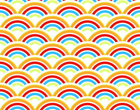 Vector illustration of a retro half circles seamless pattern background wallpaper. Rainbow colors. illustration