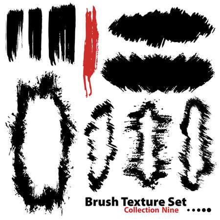 Vector outline traces of customizable organic paint brushes (strokes) and frames in different shapes and styles, highly detailed. Grouped individually, easily editable. Collection set number 9. Vector