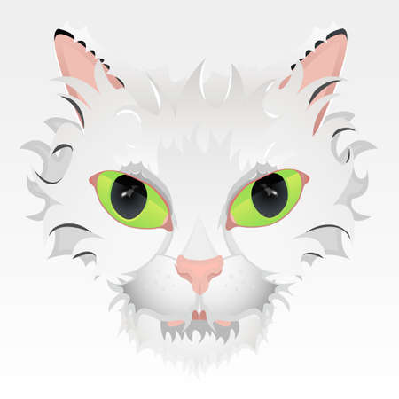 crazy hair: Vector illustration of a cute cat face with big green eyes and stylized hair. Highly detailed.