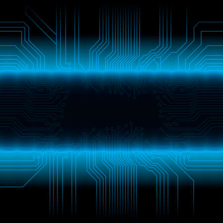 Vector illustration of a glowing circuitry board design with central frame for custom elements. Detailed gradient fading.