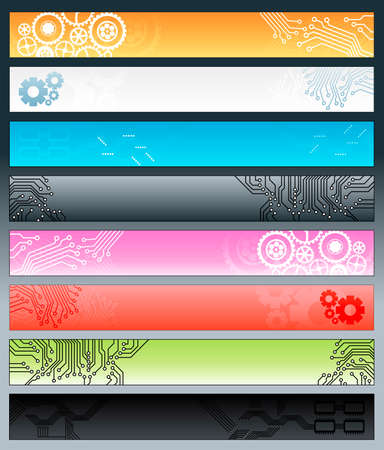 Vector illustration of a collection of eight technological web banners with circuitry patters and gearwork design elements.