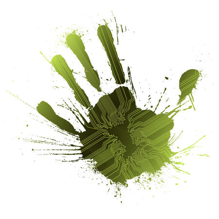 Vector illustration of a technological circuitry hand splatter with highly detailed ink explosion. Green. Vector