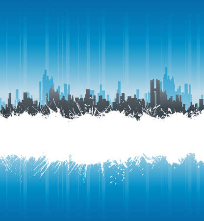 Vector illustration of a modern urban background with central white ink splatter stripe for custom elements. Vector