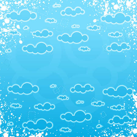 Vector illustration of a grungy retro cloudscape frame with central copy space for custom elements. Vector