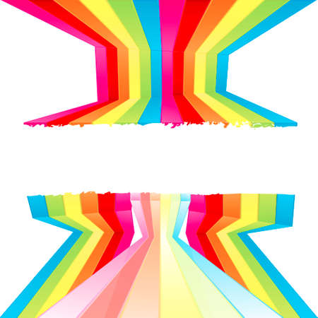 Vector illustration of rainbow colored wall stripes flowing disjointed forming a central frame for custom text. Funky design with grunge borders. Vector