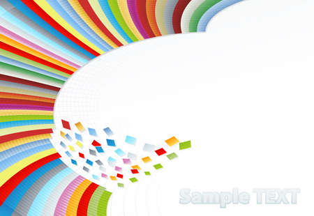 apart: Vector illustration of a beautiful corner rainbow wall falling into pieces of colorful squares. Corner design.