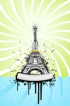 Vector illustration of the Eiffel tower in paris with ink splatter grunge explosions, stylish sea with bubbles and spiral sky. Metal board with bolts for custom design. Stock Vector - 4045960