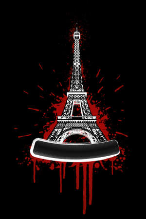 Vector illustration of the Eiffel tower in bloody grunge splatter style with bolted billboard for custom elements. Vector
