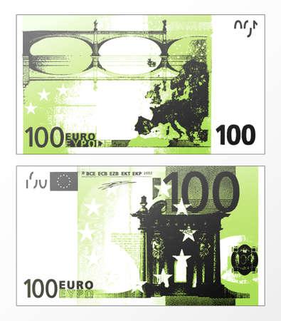 Ilustracji wektorowych z oczyszczonych śledzenia z warstwami Podwójne dwustronne-Unii Europejskiej Banknot 100 Euros.