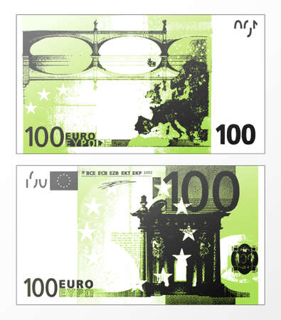Vector illustration d'un billet de banque européen nettoyé trace stratifiés double face l'Union de 100 euros.