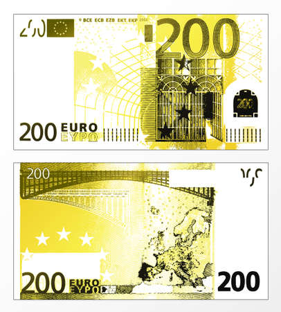 Vector illustration of a cleaned trace layered double sided European Union banknote of 200 Euros. Illustration