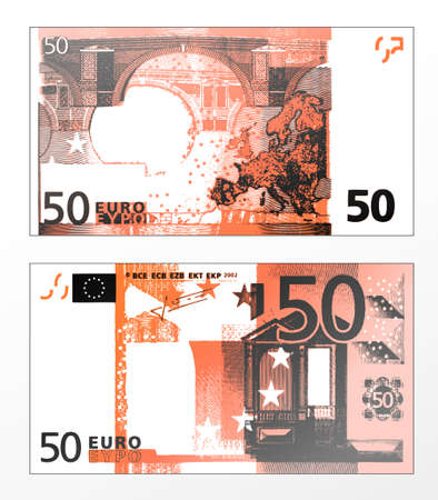 Vector illustration of a cleaned trace layered double sided European Union banknote of 50 Euros. Vector