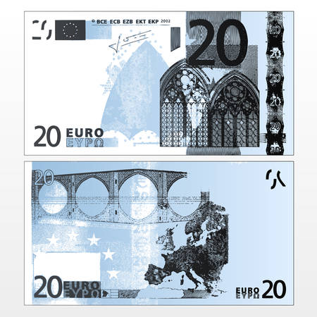 20: Vector illustration of a cleaned trace layered double sided European Union banknote of 20 Euros. Illustration