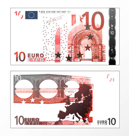 Stock Vector: Vector illustration of a cleaned trace layered double sided European Union banknote of 10 Euros. Illustration