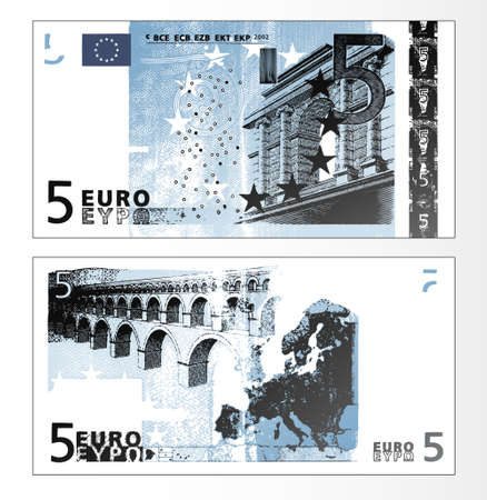 Vector illustration of a cleaned trace layered double sided European Union banknote of 5 Euros.