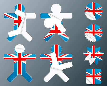 Vector illustration of eight different peeling stickers in UK flag theme. Vector