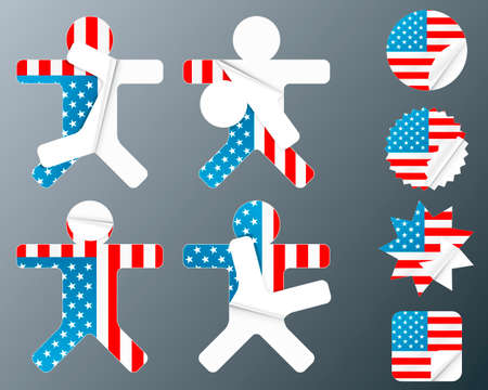 Vector illustration of eight different peeling stickers in United states of America flag theme. Vector