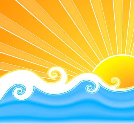 tide: Vector ilustraci�n de un fondo nesaro retro verano con los rayos del sol hermosa, el agua de malla de dise�o ondulado y rizado, y en el medio.