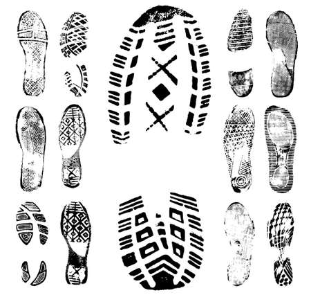 black shoes: Vector illustration of various footprint shoeprint traces. Collection number 1.