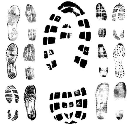 Vector illustration of various footprint shoeprint traces. Collection number 2. Stock Vector - 4045980