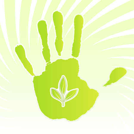 Vector illustration of a green ecology design handprint with swirly background and leaf icon. Иллюстрация