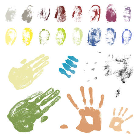 Vector illustration of a collection of grungy traced fingerprints and handprints. Color coded and highly detailed. Vector