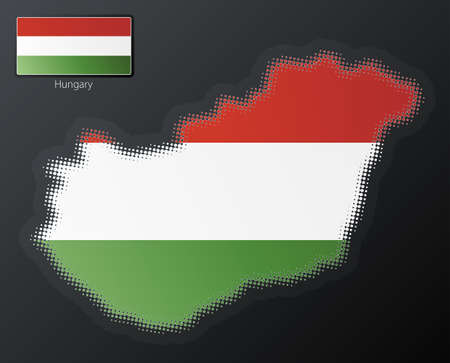 separate: Vector illustration of a modern halftone design element in the shape of Hungary, European Union. Second halftone, border and contents, on separate layer. Additional flag included.