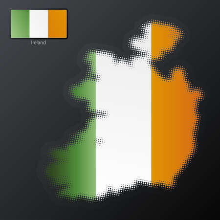 Vector illustration of a modern halftone design element in the shape of Ireland, European Union. Second halftone, border and contents, on separate layer. Additional flag included. Stock Vector - 4045946