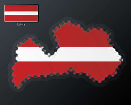 Vector illustration of a modern halftone design element in the shape of Latvia, European Union. Second halftone, border and contents, on separate layer. Additional flag included. Vector