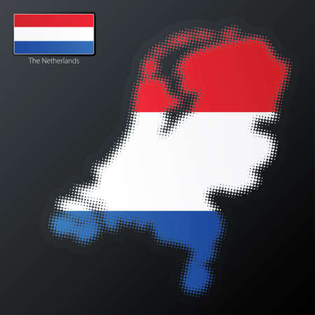 Vector illustration of a modern halftone design element in the shape of The Netherlands, European Union. Second halftone, border and contents, on separate layer. Additional flag included. Vector