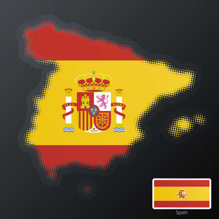 Vector illustration of a modern halftone design element in the shape of Spain, European Union. Second halftone, border and contents, on separate layer. Additional flag included. Vector