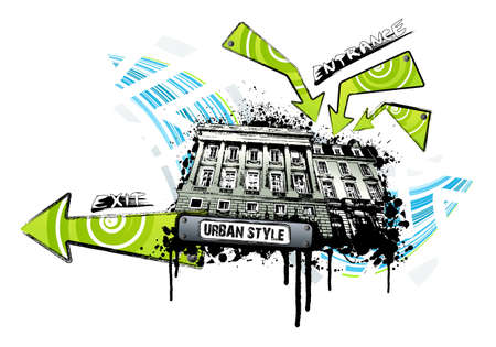 Vector illustration of an event building location with entrance and exit signs and arrows. Retro ink splatter urban style. Vector