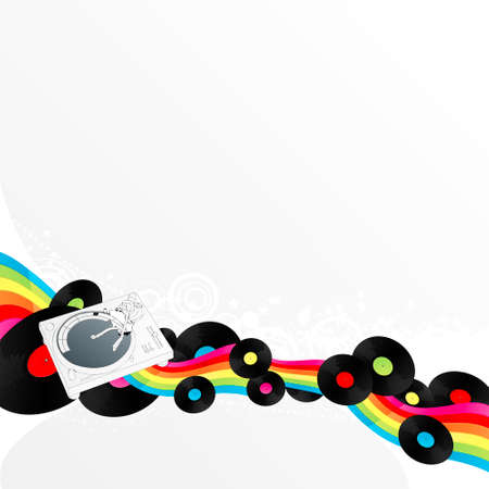 Vector illustration of a stylized turntable design element with rainbow stripe ribbon and vinyl discs. Funky star circles in the background. Vector