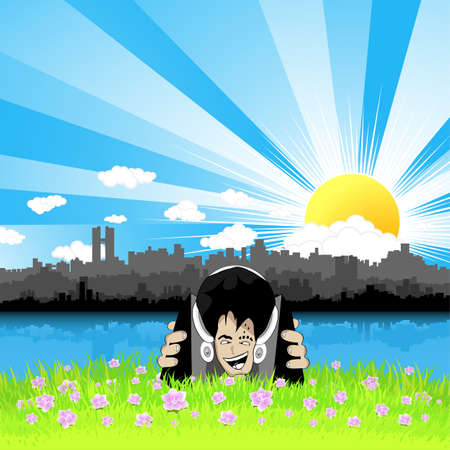 Vector illustration of a crazy face listening to music on speakers and headphones and relaxing in a beautiful floral meadow with a stylized urban cityscape sunny background. Vector