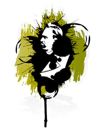 Vector illustration of the German philosopher Friedrich Nietzsche in grunge retro splatter style. Design element.