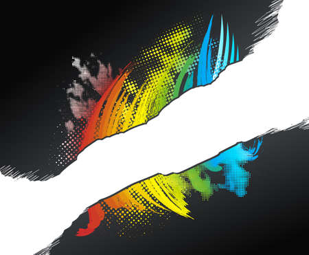 Vector illustration of a rainbow grunge halftone design with a white scribble stripe for custom elements. Vector