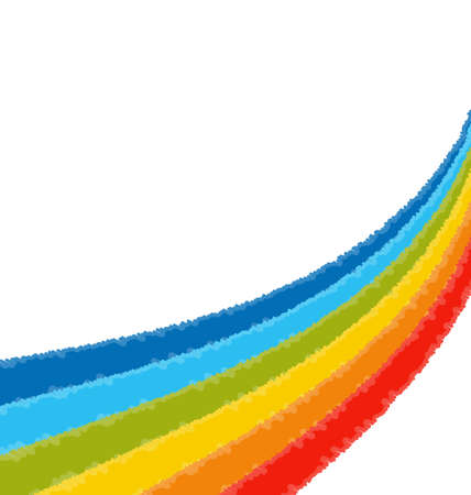Vector illustration of a rainbow colored scribbly crayon lined stripe background. Vector