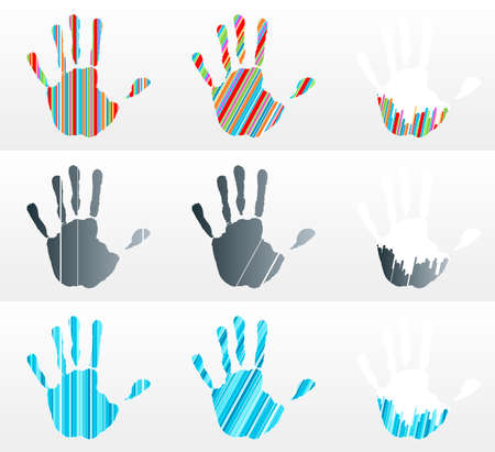 Vector illustration of various handprints with striped abstract textures. Rainbow, black and business blue. Vector