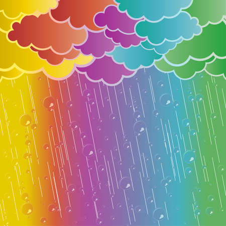 Vector illustration of a retro cloudy weather with transparent rain drops. Illustration