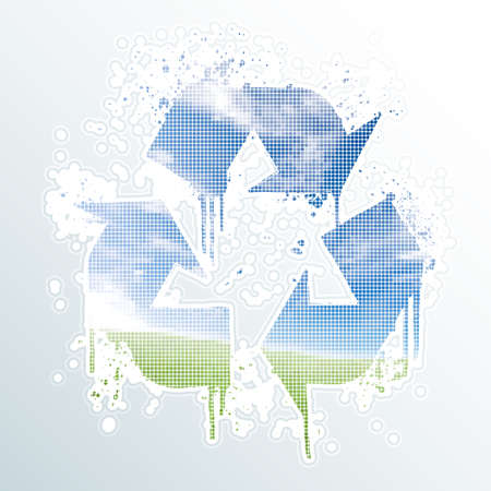 Vector illustration of an ink splatter recycle symbol design element with halftone nature landscape sky and meadow background dots in the middle.  Vector