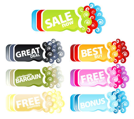 free offer: Vector illustration of a colorful collection of funky swirly retail tags or banners.