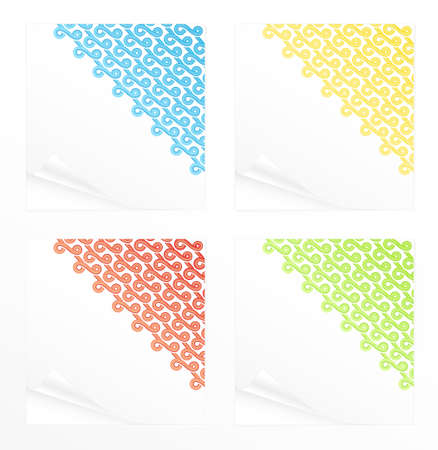 Illustration of four differently colored beautiful cute note paper reminders with abstract curly ribbons corners. illustration