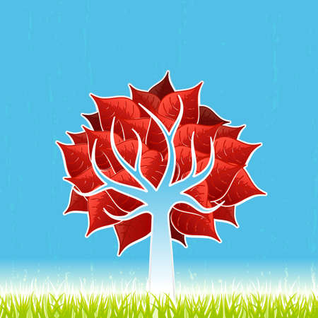 Vector illustration of a stylized red leaf tree with green grass and textured blue horizon sky. illustration