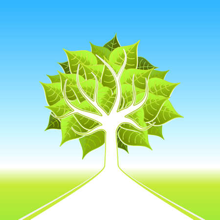 Vector illustration of a stylized ecological tree with big leafs and white path leading on the horizon. illustration