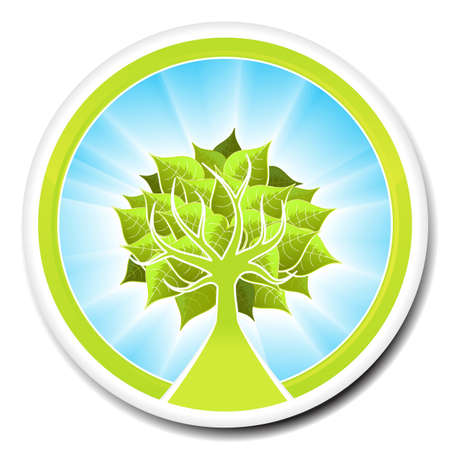 Vector illustration of an ecological tree badge or icon. illustration