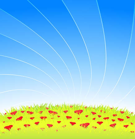 Vector illustration of a beautiful romantic meadow with blue lined sky and detailed grass full of lovely heart flowers. Copy space for custom text. illustration