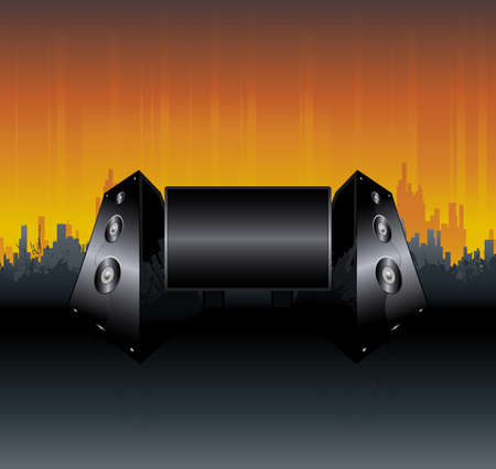illustration of an urban music design with splatter elements, sunset skyline, detailed shiny speakers and central monitor display or billboard for custom elements.