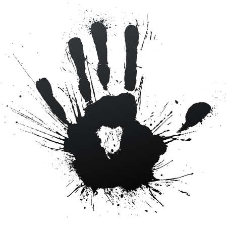 illustration of a highly detailed ink splatter powerful blow handprint.